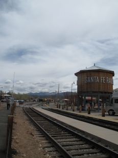 Tracks with Santa Fe Mountain backdrop